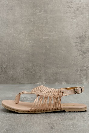 Sbicca Yanet Nude Leather Sandals 1