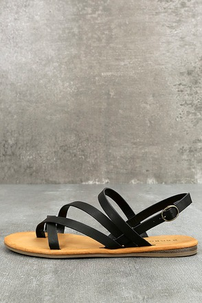 Kalene Black Flat Sandals 1