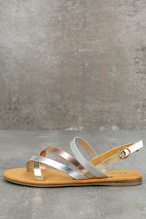 Kalene Metallic Multi Flat Sandals 1