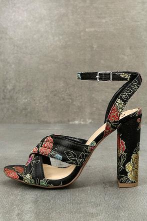 Genevieve Black Brocade Ankle Strap Heels 1