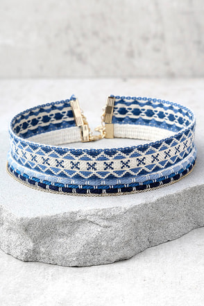 Aspen Blue Embroidered Choker Necklace Set 1