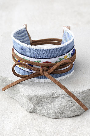 Denim Darling Blue and Brown Embroidered Wrap Bracelet 1