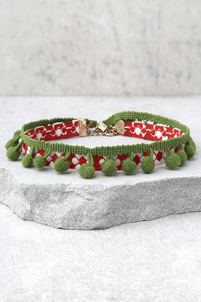 Mabel Red and Green Pom Pom Choker Necklace Set 1