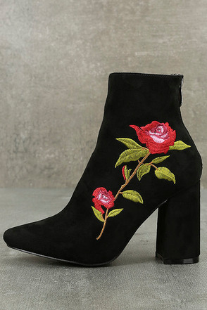 Berenice Black Suede Embroidered Mid-Calf Boots 1