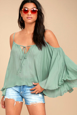 Thought-Provoking Sage Green Off-the-Shoulder Top 1