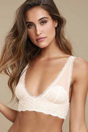 Free People Kristin Pale Peach Lace Bralette 1