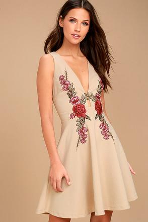 Romantic Rose Beige Embroidered Skater Dress 1