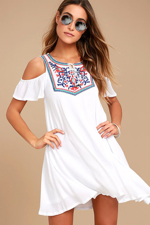 Others Follow Wild Field White Embroidered Swing Dress 1