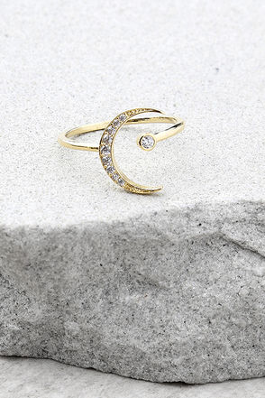 Moon Stone Gold Rhinestone Ring 1