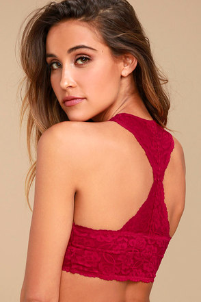 Free People Galloon Racerback Berry Pink Lace Bralette 1
