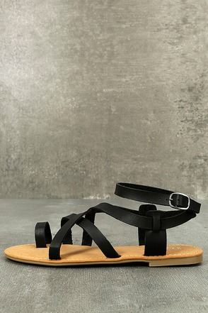 Kaya Black Ankle Strap Sandals 1