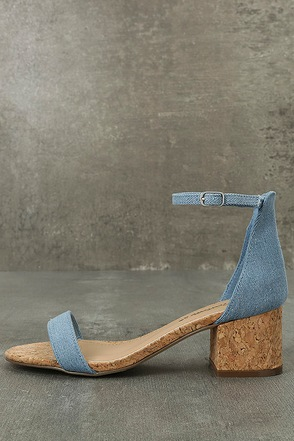June Blue Denim Cork Ankle Strap Heels 1