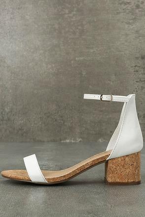 June White Cork Ankle Strap Heels 1