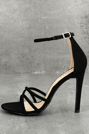 Michella Black Ankle Strap Heels 1