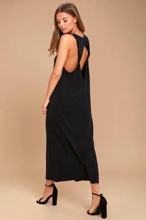 PPLA Pearl Washed Black Midi Dress 1