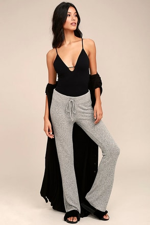More Life Heather Grey Flare Pants 1