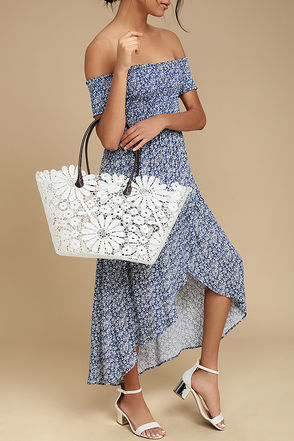 For All to Sea White Crochet Lace Tote 1