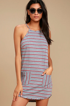 Lucy Love House Party Grey Striped Dress 1