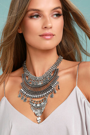 Sure Allure Silver Rhinestone Statement Necklace 1