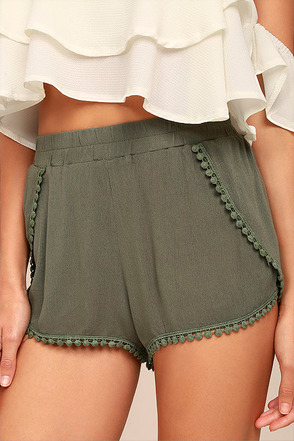 Breeze By Olive Green Embroidered Shorts 1