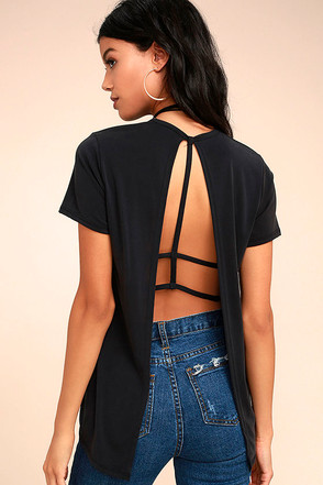 Backstory Black Backless Tee 1