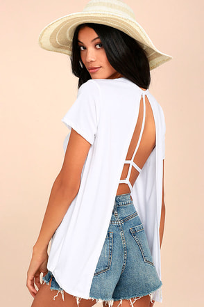Backstory White Backless Tee 1