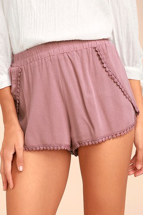 Breeze By Mauve Embroidered Shorts 1