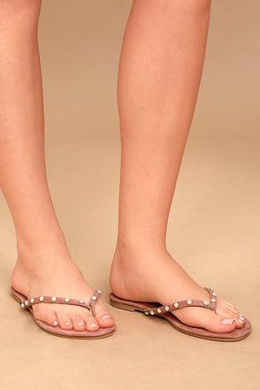 Laveda Blush Suede Pearl Flip Flops 1