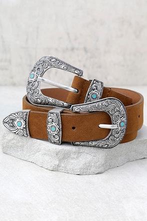 Dearheart Brown and Silver Double Bucke Belt 1