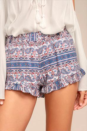 Rhythm Arabella Blue Print Shorts 1