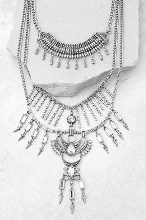 Gypsy Dreams Silver Layered Statement Necklace 1