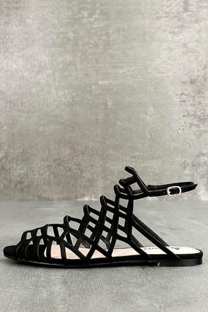 Ansley Black Suede Gladiator Sandals 1