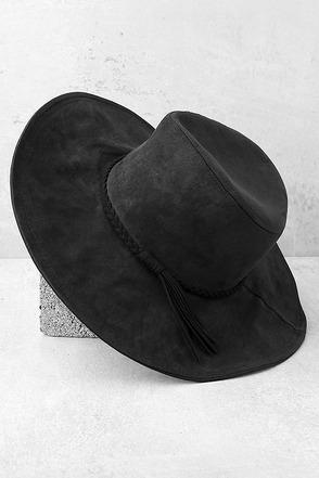 Vivi Black Suede Floppy Hat 1