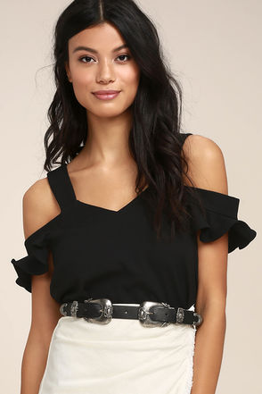 Keeper of my Heart Black Off-the-Shoulder Top 1