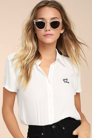 Yeah Baby White Embroidered Button-Up Top 1