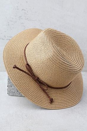 Love at Sunset Tan Straw Fedora Hat 1