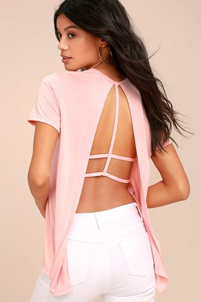 Backstory Blush Pink Backless Tee 1
