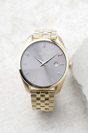 Nixon Bullet Light Gold and Taupe Watch 1