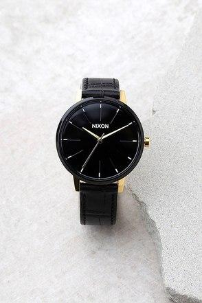 Nixon Kensington Leather Gold, Black, and White Watch 1