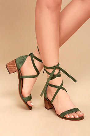 Steve Madden Rizzaa Olive Suede Leather Heeled Sandals 1