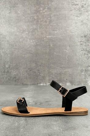 Dita Black Flat Sandals 1