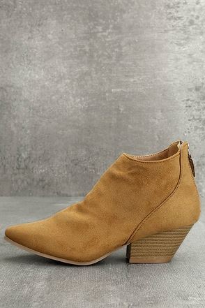 Misha Moss Tan Suede Ankle Booties 1
