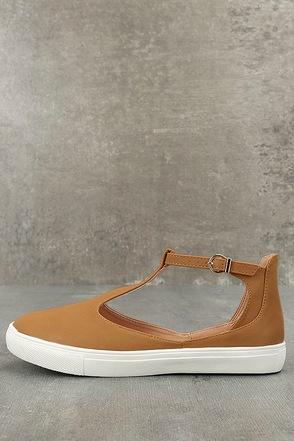 Gemma Camel T-Strap Sneakers 1