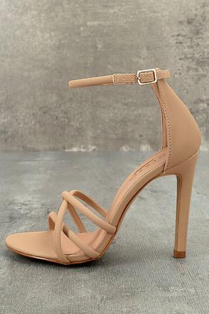 Michella Nude Nubuck Ankle Strap Heels 1