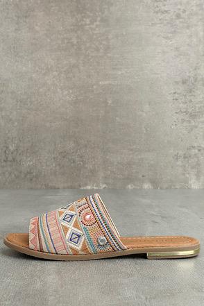 Kamala Beige Embroidered Slide Sandals 1