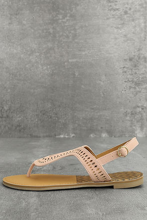 Libby Blush Pink Nubuck Thong Sandals 1