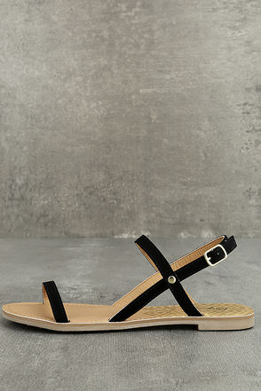 Rika Black Nubuck Flat Sandals 1