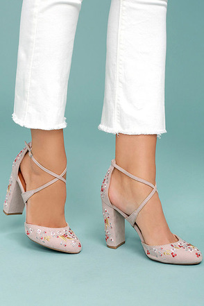 Lottie Nude Embroidered Ankle Strap Heels 2