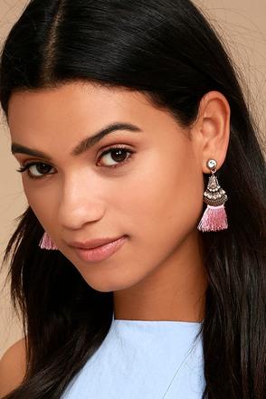 Tuscan Sun Gold and Pink Rhinestone Tassel Earrings 1