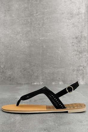 Libby Black Nubuck Thong Sandals 1